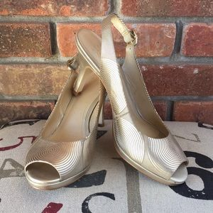 Alex Marie Gold Leather Sling-Back Heels